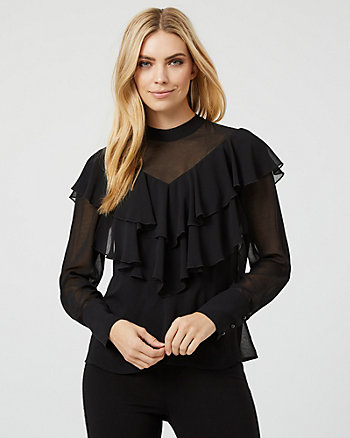 Chiffon Mock Neck Ruffle Blouse