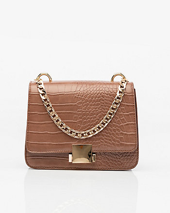 Croco Chain-Link Crossbody Bag