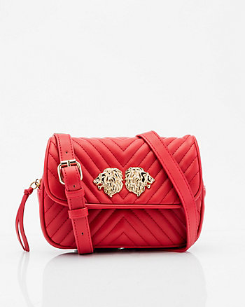 Quilted Leather-Like Crossbody Bag