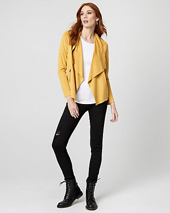 Suede-Like Open-Front Jacket