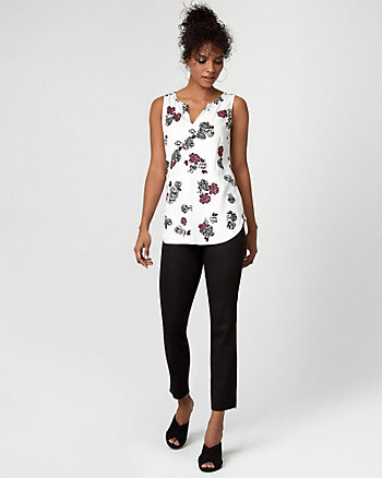Floral Print Challis & Jersey Split Neck Blouse