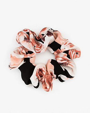 Floral Print Pleated Scrunchie