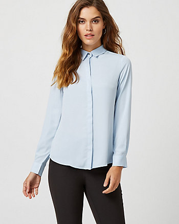 Crêpe de Chine Button Front Blouse