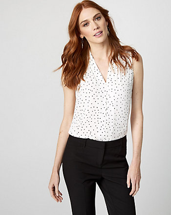 Polka Dot Print Shiny Twill V-Neck Blouse