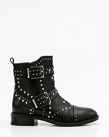 Studded Leather Biker Boot
