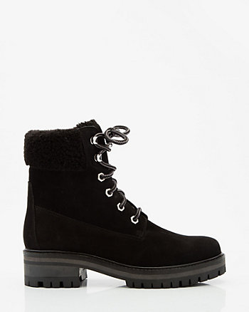 Faux Fur Nubuck Leather Ankle Boot