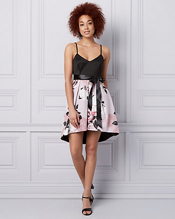 Floral Print Cotton Sateen V-Neck Dress