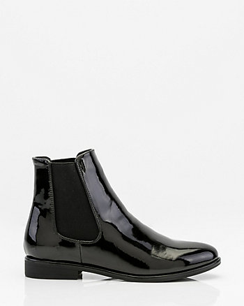 Patent Almond Toe Chelsea Boot
