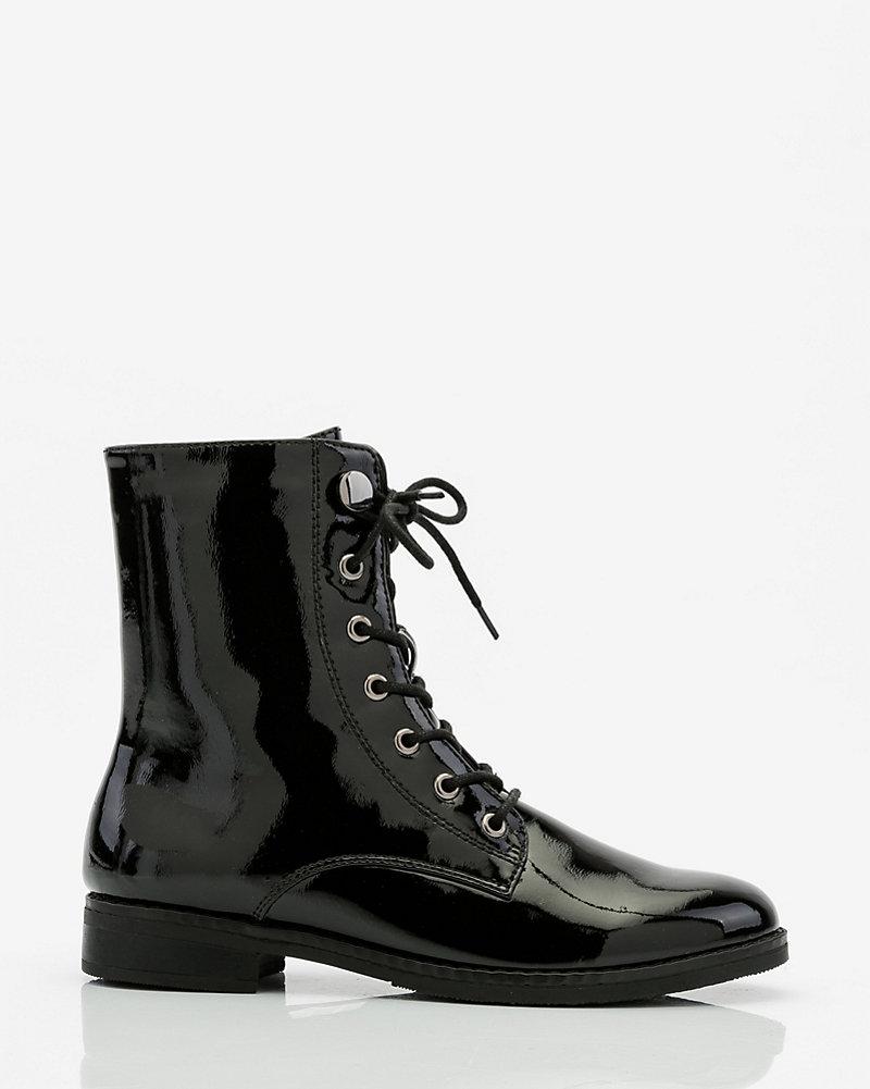 da9683939e1 LE CHÂTEAU: Patent Lace-Up Combat Boot