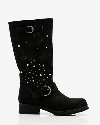 Jewel Embellished Knee-High Boot