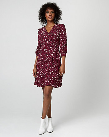 Floral Print Viscose V-Neck Tunic Dress