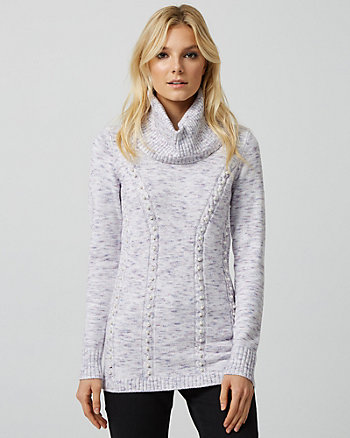 Pearl Embellished Knit Cowl Neck Sweater