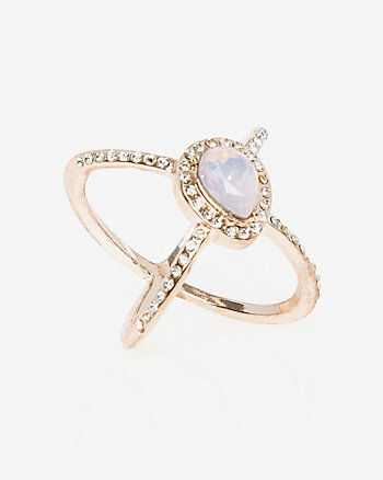 Gem Criss-Cross Ring