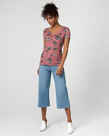 Floral Print Knit V-Neck T-Shirt