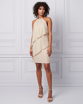 Foil Chiffon Halter Dress