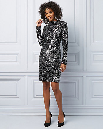 Sequin Long Sleeve Cocktail Dress