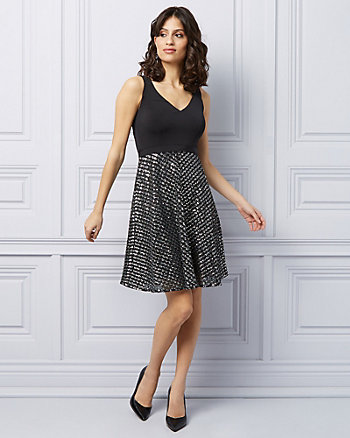 Sequins & Mesh Fit & Flare Cocktail Dress