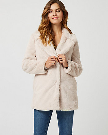 Faux Fur Notch Collar Jacket