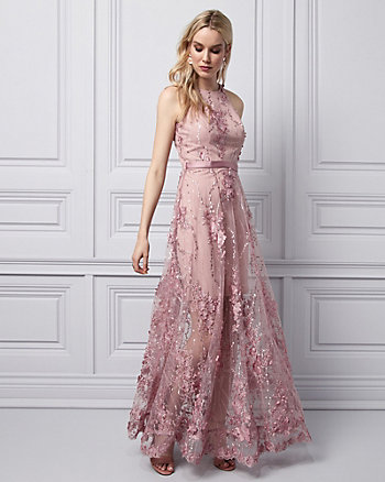 3D Floral Halter Gown