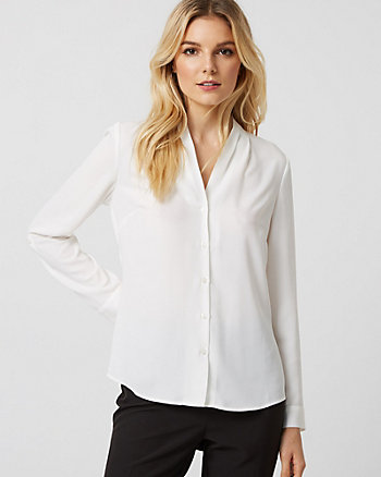 Twill & Knit Button-Front Blouse