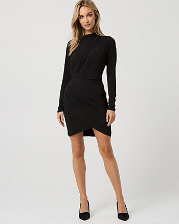 Ruched Long Sleeve Cocktail Dress