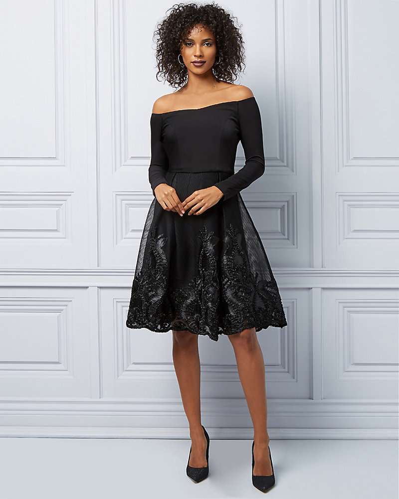057e640ef3 Embroidered Mesh Fit   Flare Cocktail Dress