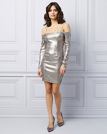 Sequin Off-The-Shoulder Cocktail Dress