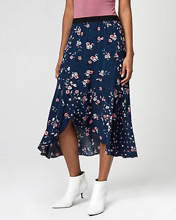 Floral Print Viscose Midi Skirt
