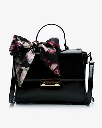 Patent Faux Leather Satchel
