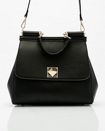 Saffiano Faux Leather Flapover Satchel