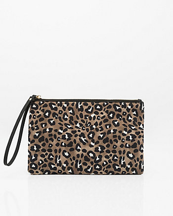 Leopard Print Leather-Like Pouch