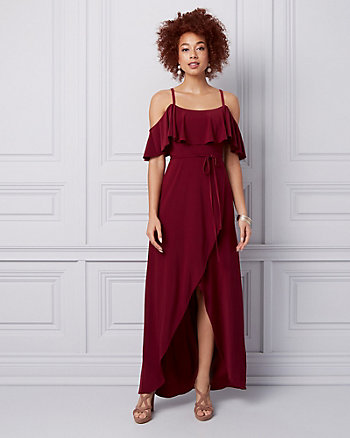 Knit Cold Shoulder Wrap-like Gown