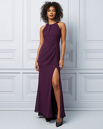 Chiffon Wrap-Like Halter Neck Gown