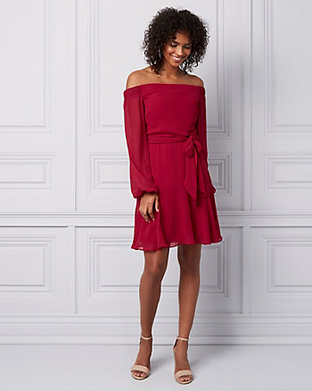 Chiffon Off-the-Shoulder Dress