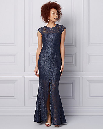 Foiled Lace Illusion Gown