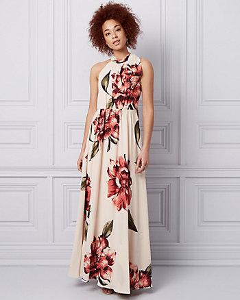 Floral Print Crêpe de Chine Tie Neck Gown