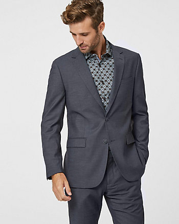 Tonal Micro Print Notch Collar Blazer