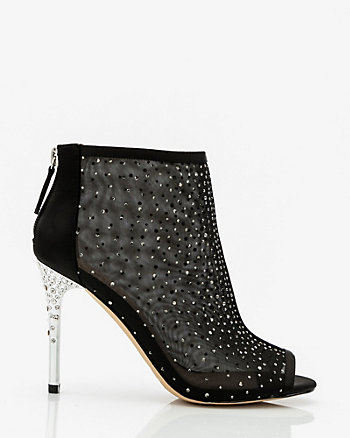 Jewel Encrusted Peep Toe Shoe Bootie