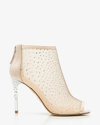 Jewel Encrusted Peep Toe Shoe Bootie