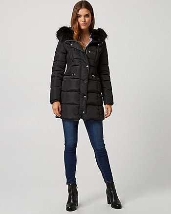 Puffer Coat with Faux Fur Hood