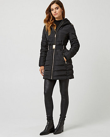 Belted Puffer Jacket with Faux Fur Hood