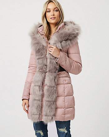 Puffer Jacket With Faux Fur Trim
