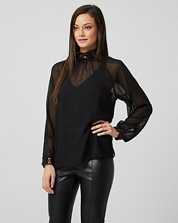 Sequin Embellished Chiffon Mock Neck Blouse