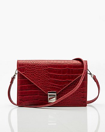 Croco Embossed  Crossbody Bag