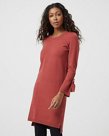 Tie Sleeve Sweater Dress