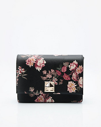Floral Print Faux Leather Crossbody Bag