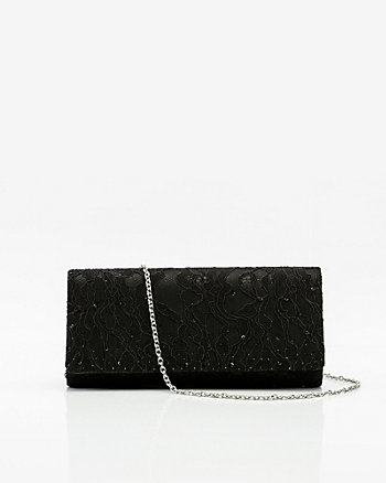 Satin & Lace Flapover Clutch