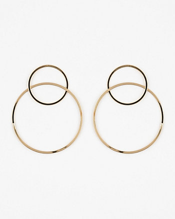 Metal Double Hoop Earrings
