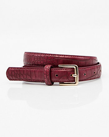 Croco Embossed Leather-Like Belt