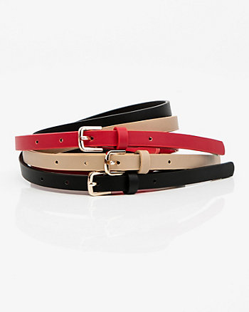 Set of Three Faux Leather Belts